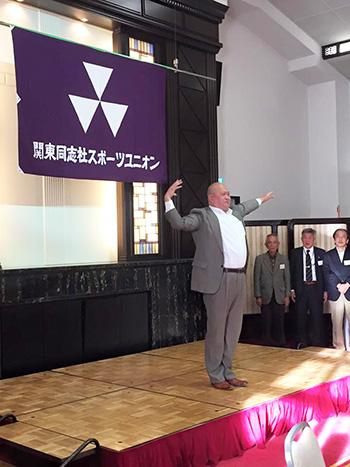 應援團藤田OBリードでカレッジソング斉唱