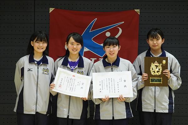 団体表彰の4人、左から 塩見・赤川・倉嵜・片野