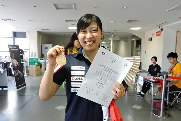 女子個人組手-68kgの部優勝の尾立佳菜子選手(商2)