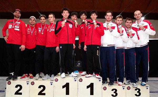 表彰式 2位スイス、3位ロシア